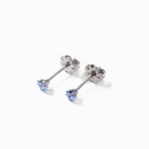 スワロフスキー 純チタン PURETITANIUM MARE マーレ  ピアス 3mm ブルー・ダイヤモンド カラー  4510-TZ21