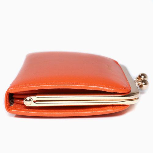 レザー がま口 二つ折財布  オレンジ 二つ折り 小銭入れ 4584-MZ21