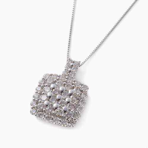 プラチナ Pt900/Pt850 ダイヤモンド スクエア ペンダント 合計2カラット 4622-HG21