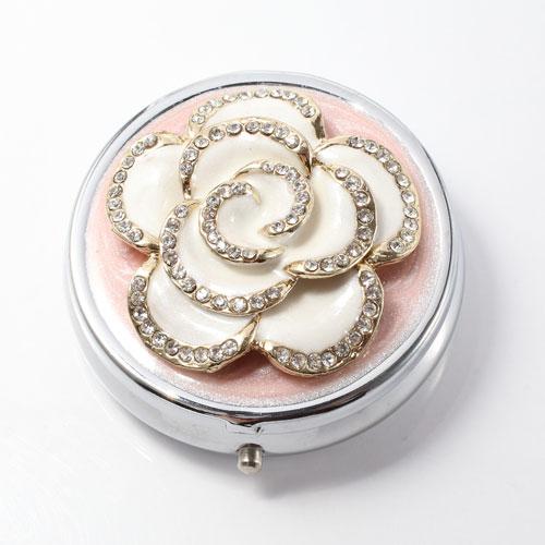 ミニジュエリーケース ピルケース 小物入れ ホワイト バラ 5013-JC15