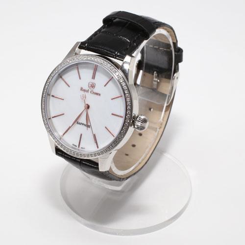 腕時計 革ベルト ブラック ウォッチ Royal Crown 5027-WL15