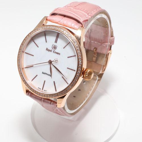 腕時計 革ベルト ピンク ウォッチ Royal Crown 5028-WL15