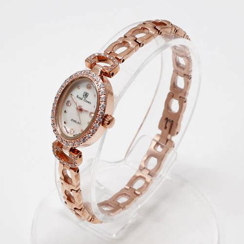 腕時計 オーバル ピンクゴールド ロジウム仕上げ Royal Crown 5030-WL15