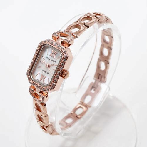 腕時計 スクエア ピンクゴールド ロジウム仕上げ Royal Crown 5031-WL15