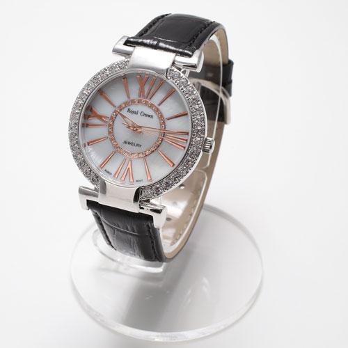 腕時計 革ベルト ブラック ウォッチ Royal Crown ジュエリー 5033-WL15