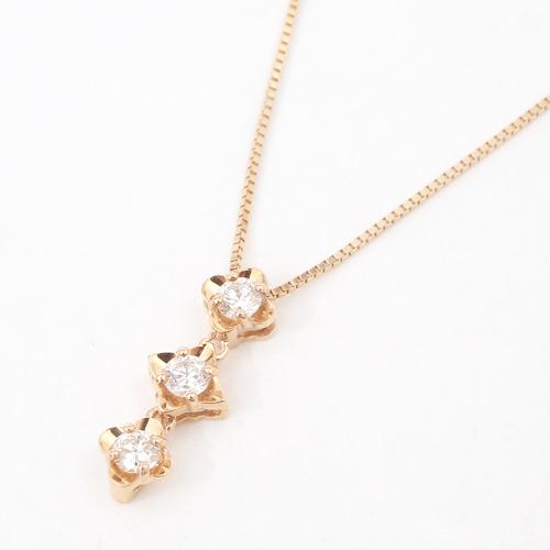 日本製 10金ピンクゴールド ダイヤモンド 0.15ct スリーストーン 2way ペンダント 5165-PG16