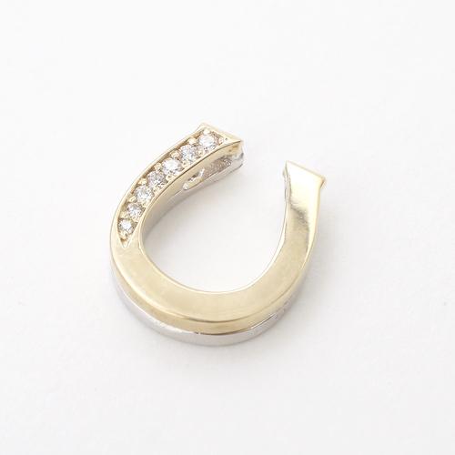 日本製 10金 YG&WG 馬蹄 ペンダントジャケット ダイヤモンド 0.11ct 5168-PG16