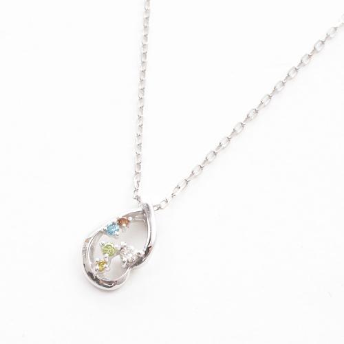 日本製 ペンダント カラーダイヤモンド 合計0.05カラット K10WG 5174-PG16