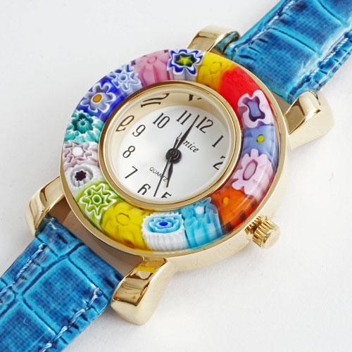 イタリア製 ベネチアンガラス 腕時計 ブルー(青) ベルト 5175-WL16