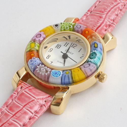 イタリア製 ベネチアンガラス 腕時計 ピンク ベルト 5176-WL16