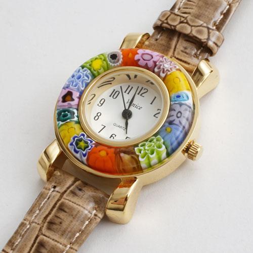 イタリア製 ベネチアンガラス 腕時計 ブラウン(茶) ベルト 5177-WL16