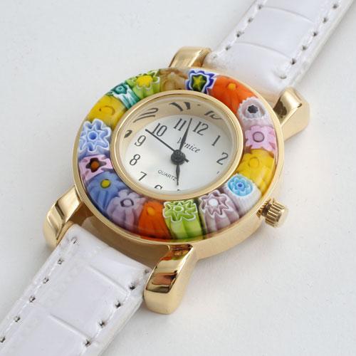 【送料無料】【イタリア製】ベネチアンガラス/ベネチアングラス 腕時計/ウォッチ ホワイト ベルト ハンドメイド/手作り 5178-WL16