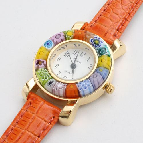 イタリア製 ベネチアンガラス 腕時計 オレンジ ベルト 5179-WL16