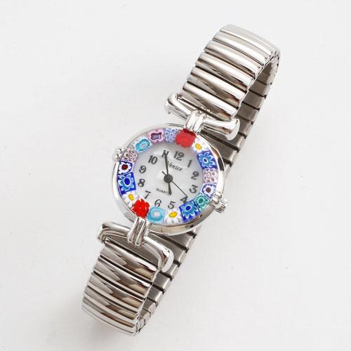 イタリア製 ベネチアンガラス 腕時計 蛇腹 シルバー色 5180-WL16