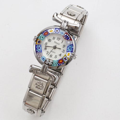 イタリア製 ベネチアンガラス フラワー 腕時計 蛇腹 シルバー色 5182-WL16