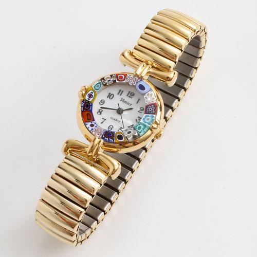 イタリア製 ベネチアンガラス フラワー 腕時計 蛇腹 ゴールド色 5183-WL16