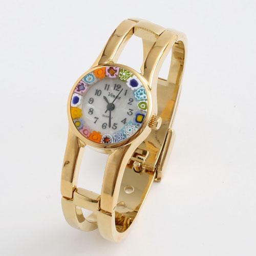 イタリア製 ベネチアンガラス 腕時計 バングル 調節可能 ゴールド色 5184-WB16