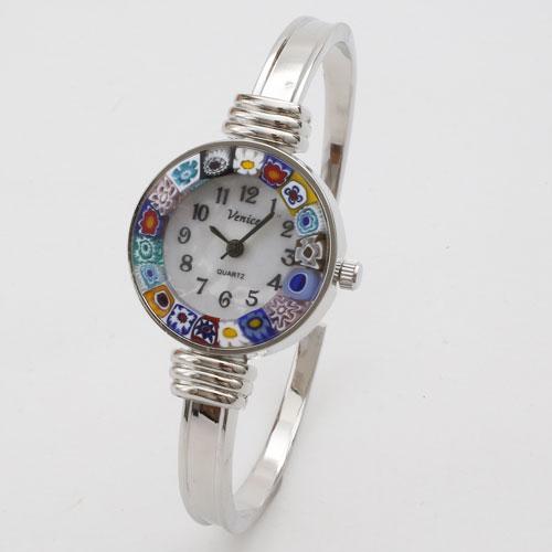 イタリア製 ベネチアンガラス 腕時計 バングル シルバー色 5185-WB16
