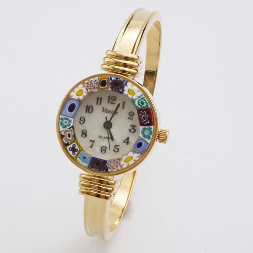イタリア製 ベネチアンガラス 腕時計 バングル ゴールド色 5187-WB16
