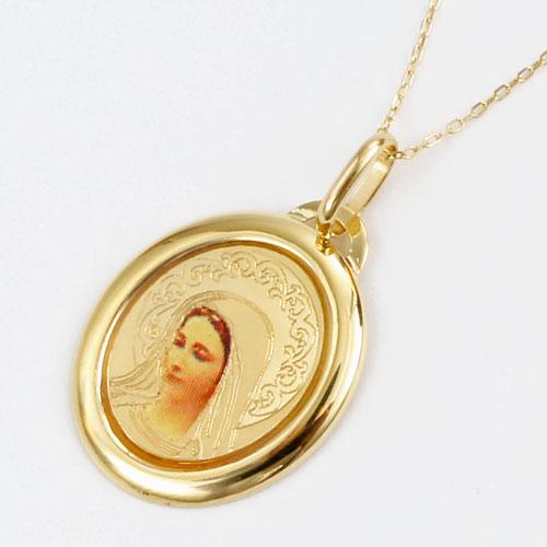 イタリア製 18金 聖母マリア ペンダント K10 小豆チェーン付 5189-PG16