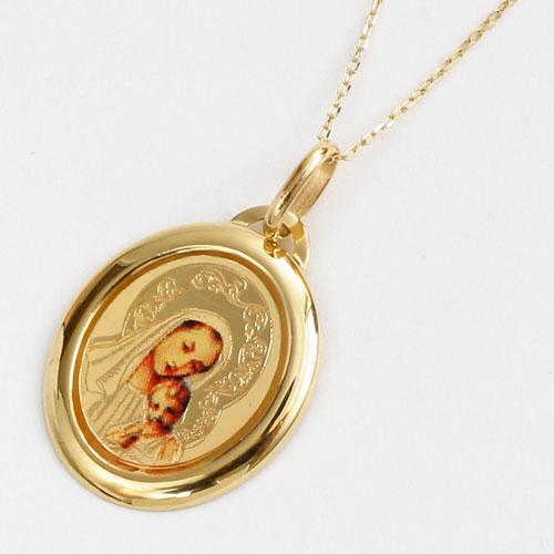 イタリア製 18金 聖母マリア キリスト ペンダント K10 小豆チェーン付 5190-PG16