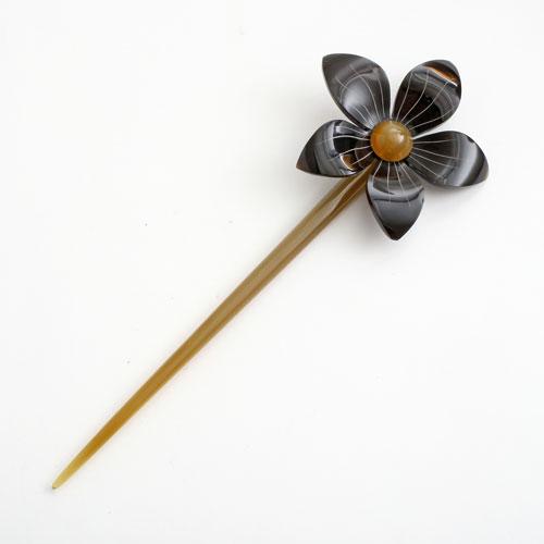 水牛 かんざし(簪) 天然素材 茶/ブラウン (一輪の花/大) 5234-HR16