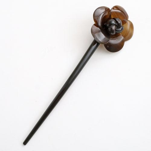 水牛 かんざし(簪) 天然素材 茶/ブラウン (一輪の花/小) 5236-HR16