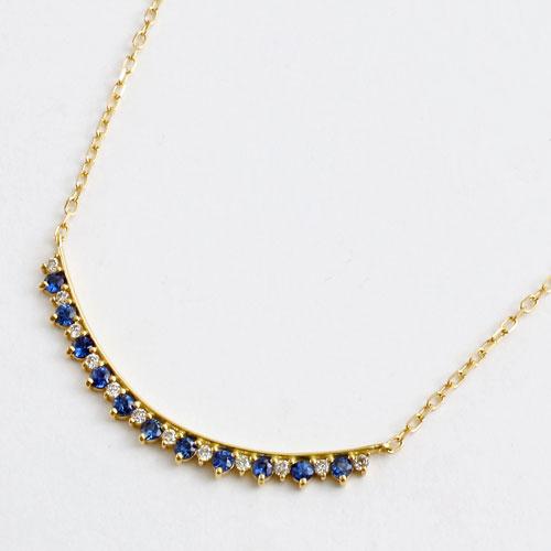 18金 サファイア&ダイヤモンド ペンダント ネックレス 小豆チェーン 5246-YG16