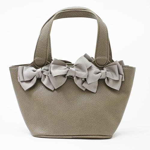 【送料無料】レザー/合皮 トートバッグ/鞄 プラスチックパール (グレー) 5250-TO16