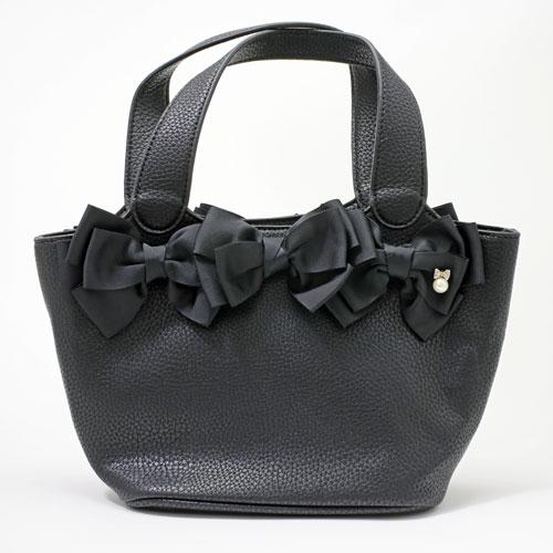 【送料無料】レザー/合皮 トートバッグ/鞄 プラスチックパール (ブラック) 5251-TO16