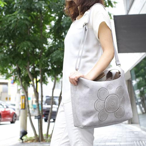 【送料無料】4way バッグinバッグ レザー/合皮/スエード ショルダー/トートバッグ/鞄 フラワー (グレー) 5252-TO16