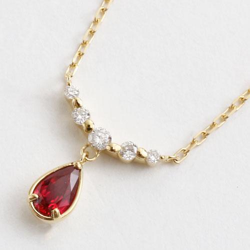 日本製 18金 K18 ペンダント ルビー&ダイヤモンド 0.09ct アズキチェーン  5321-YG16