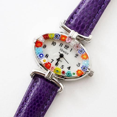 イタリア製 ベネチアンガラス 腕時計 パープル ベルト 5330-WL16
