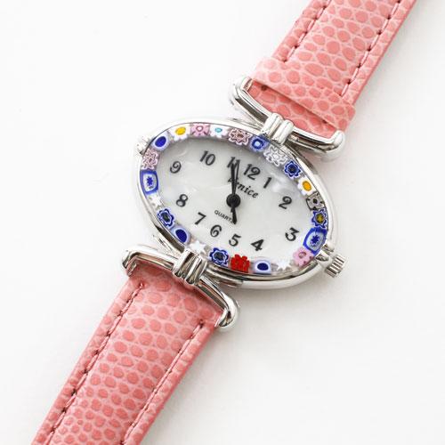 イタリア製 ベネチアンガラス 腕時計 ピンク ベルト 5331-WL16