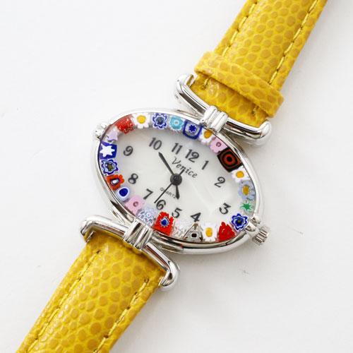 ベネチアンガラス 腕時計 ハンドメイド ウォッチ ベネチアングラス イエローベルト 5332-WL16