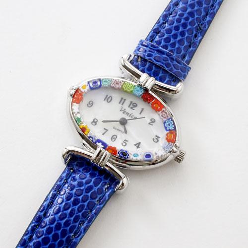 イタリア製 ベネチアンガラス 腕時計 ブルー ベルト 5333-WL16