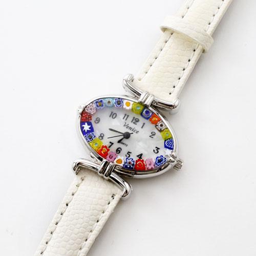 イタリア製 ベネチアンガラス 腕時計 ホワイト ベルト 5334-WL16