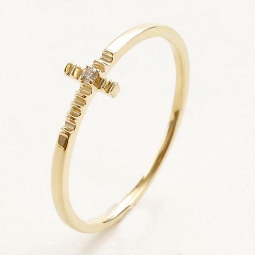 日本製 10金イエローゴールド リング K10 ダイヤモンド クロス 5342-RG16