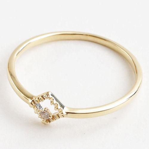 日本製 10金イエローゴールド リング K10 ダイヤモンド ダイヤ型 5344-RG16