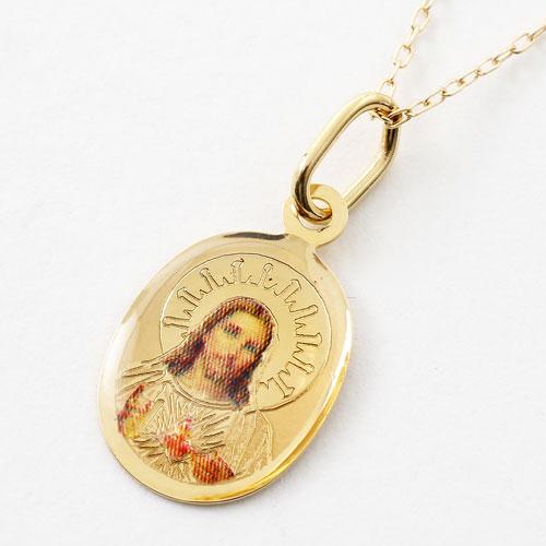 イタリア製 18金 聖母マリア キリスト ペンダント K10 小豆チェーン付 5366-PG17
