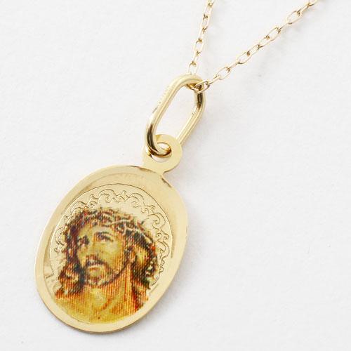 イタリア製 18金 聖母マリア キリスト ペンダント K10 小豆チェーン付 5367-PG17