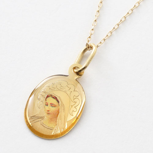 イタリア製 18金 聖母マリア キリスト ペンダント K10 小豆チェーン付 5368-PG17