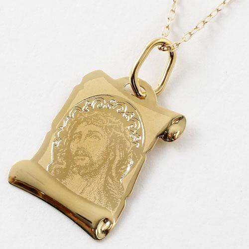 イタリア製 18金 聖母マリア キリスト ペンダント K10 小豆チェーン付 5389-PG17