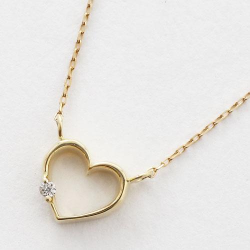 日本製 10金  オープンハート ダイヤモンド ペンダント 5395-PG17