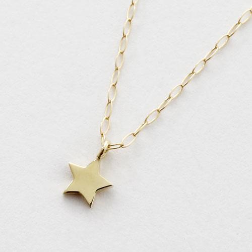 10金 星 ダイヤモンド ペンダント アズキチェーン 5396-PG17