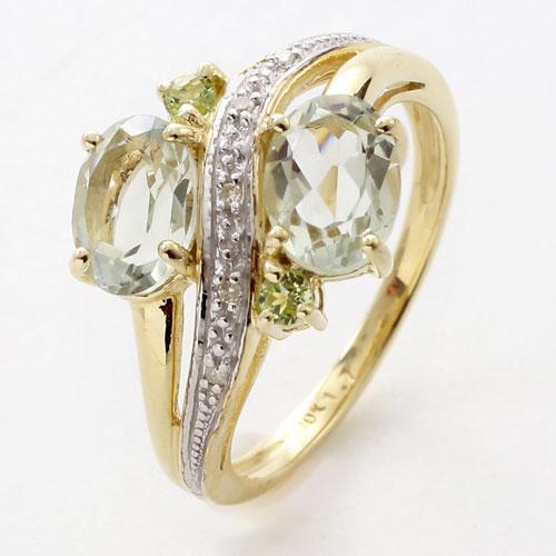 10金 K10 イエローゴールド ペリドット ダイヤモンド リング 5442-RS17