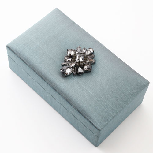 タイ製 宝石箱 ジュエリーケース スモーキーブルー タイシルク ビジュー 5454-AS17