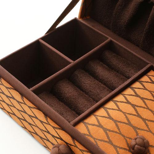 タイ製 宝石箱 ジュエリーケース オレンジブラウン タイシルク オリエンタル 5455-AS17