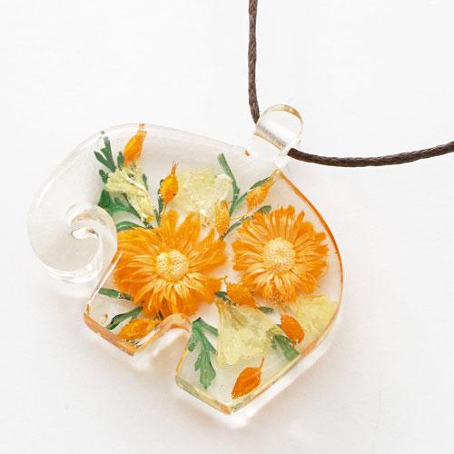 タイ製 レジン アクセサリー  エレファント フラワー(オレンジ)  5485-RF17
