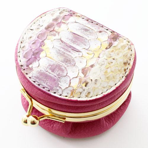 イタリア製 ピンク レザー ジュエリーボックス&小銭入れ ケース 5495-SB17
